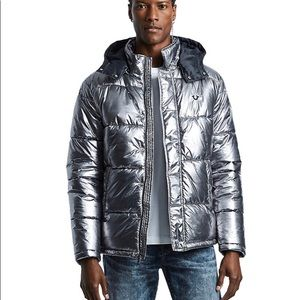 True Religion Puffer Jacket Color- Gunmetal